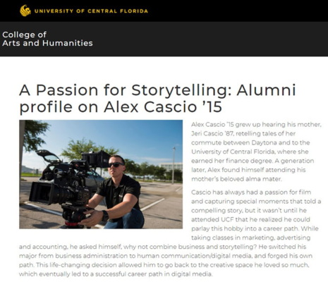 Alex Cascio - UCF Featured Article