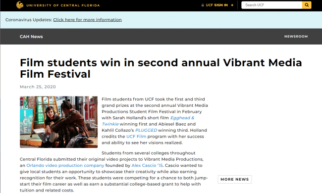 Film students win in second annual (UCF) Vibrant Media Film Festival