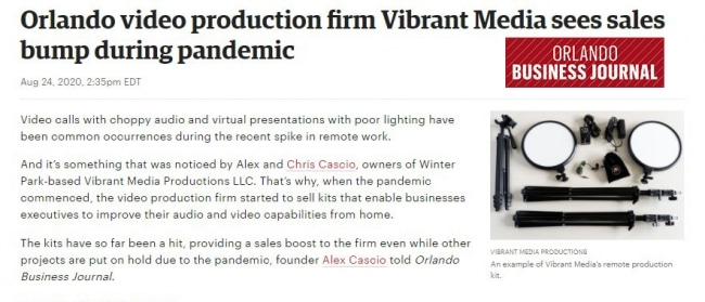 Orlando Business Journal - VMP Article sample